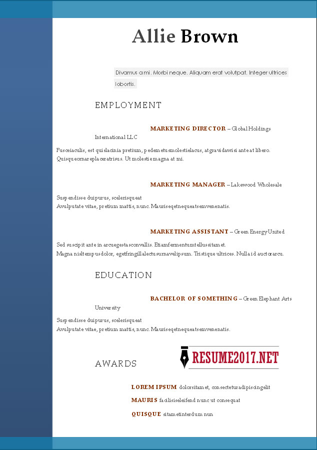 RESUME FORMAT 2017 - 16 free to download word templates