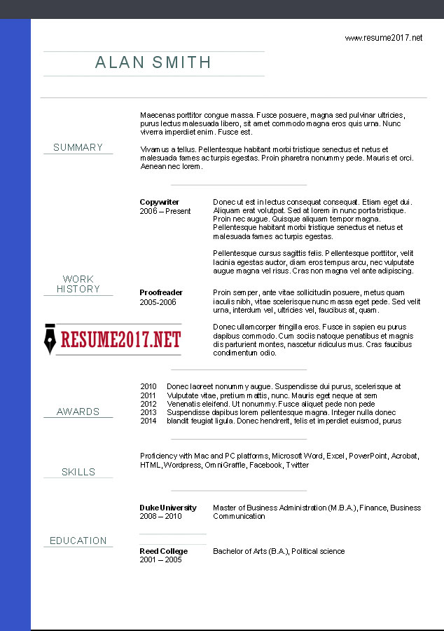 Download chronological resume template 1 in word (.docx)