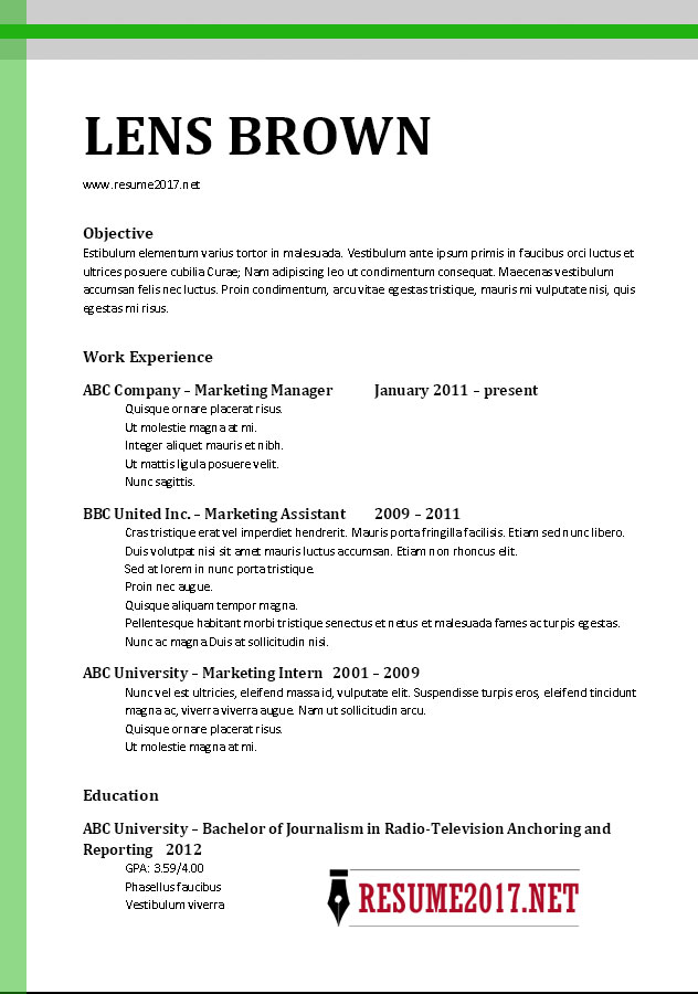Chronological Resume Format 2017 •