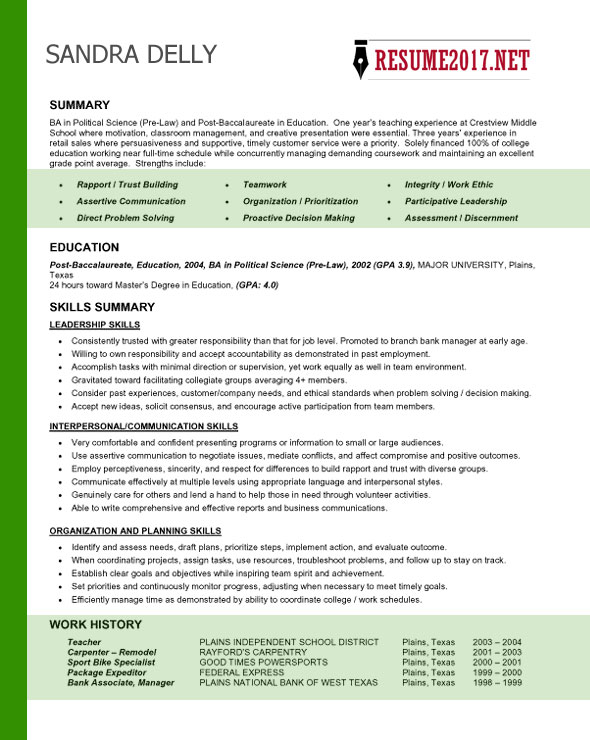Functional Resume Sample 2017  When To Use A Functional Resume