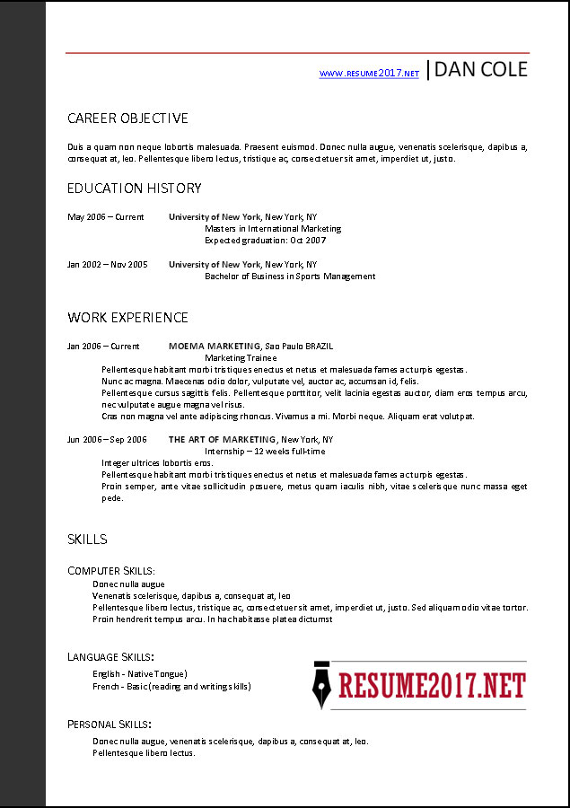 word resume template 2017
