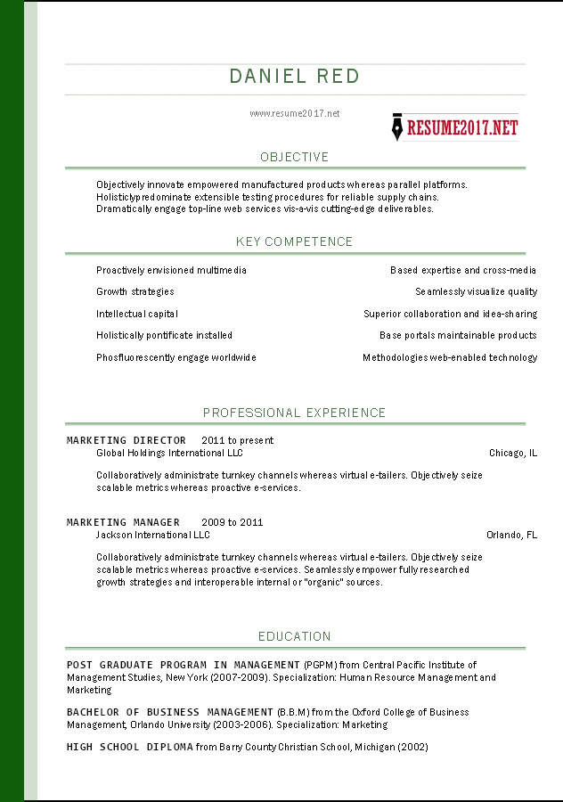 resume template sample