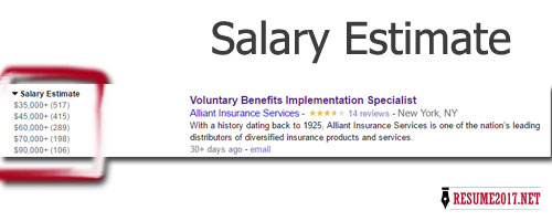 Jobs salary estimates