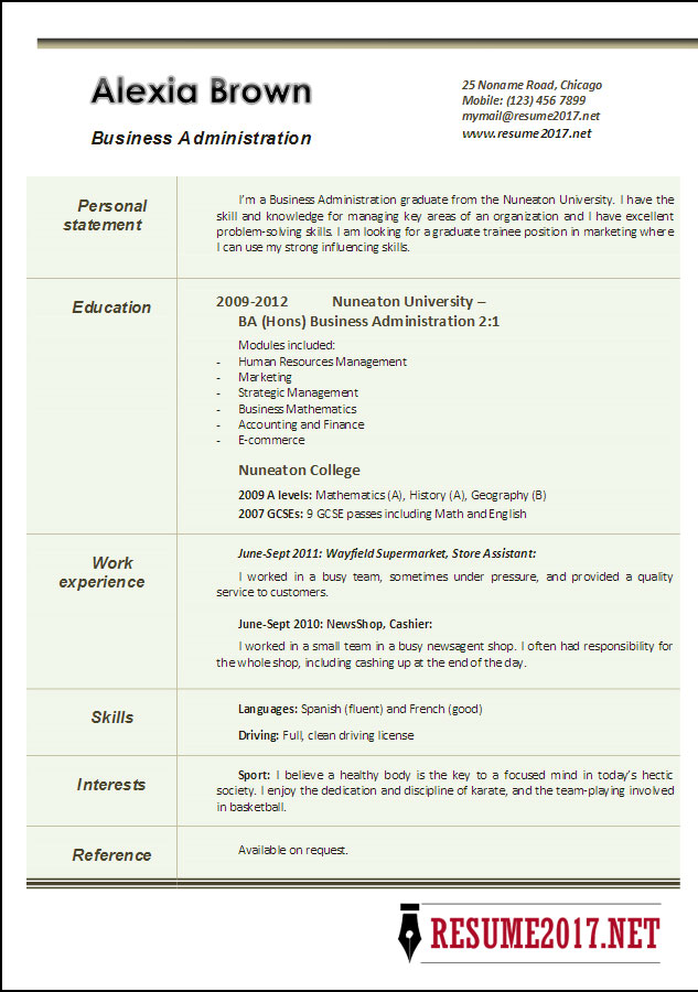 Business Administration Resume Example 2017  Admin Resume Sample