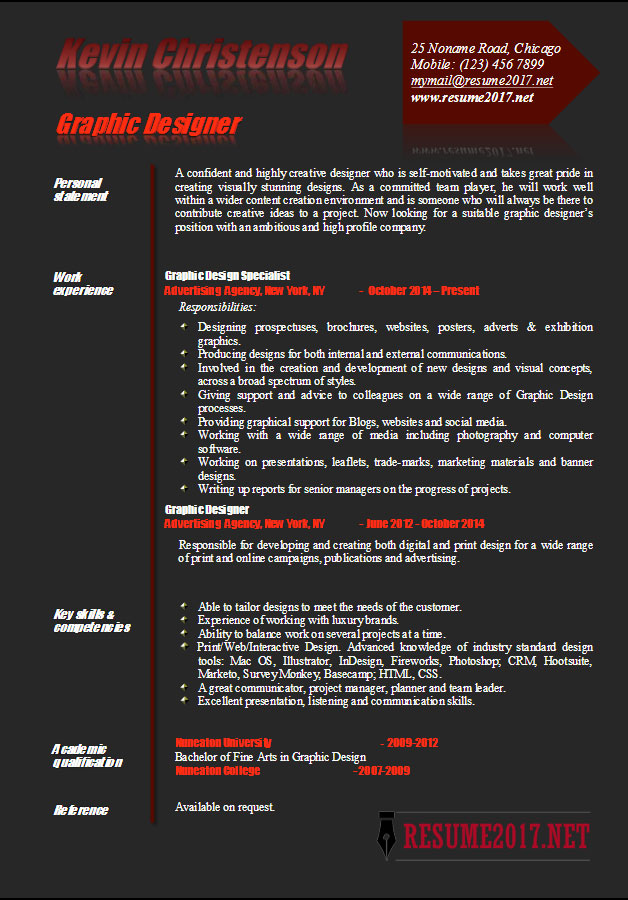 Graphic Designer Resume Examples 2017 •