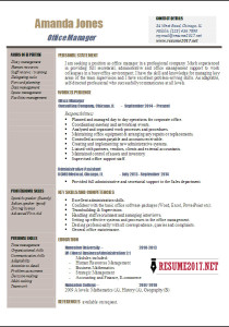 Office manager resume samples 2017