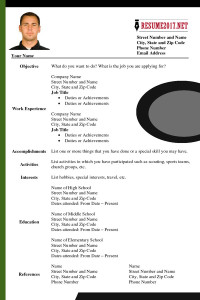 Updated resume format 2017