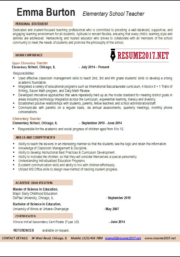 Elementary School Teacher Resume Examples 2017