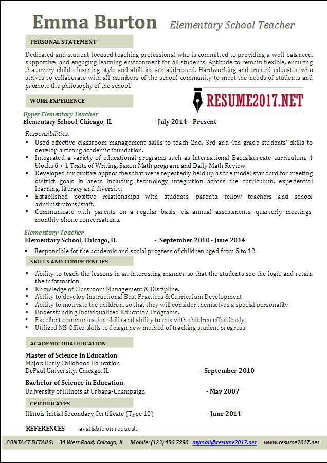 Elementary School Teacher Resume Examples 2017 •