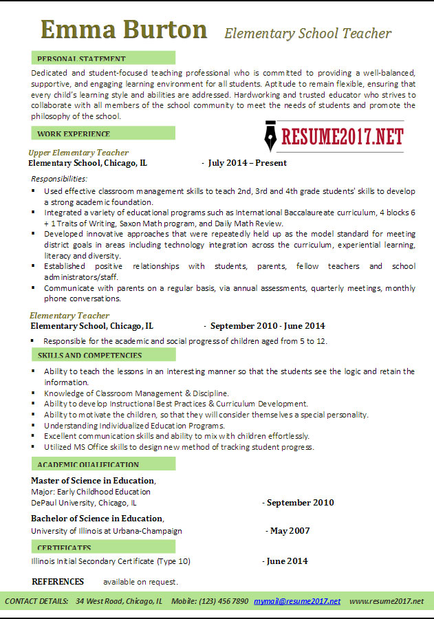 Resume Examples 2017  Latest Resume Format For Teachers