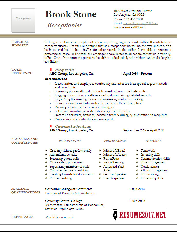 Resume Example 2017. Download Receptionist ...  Receptionist Resumes