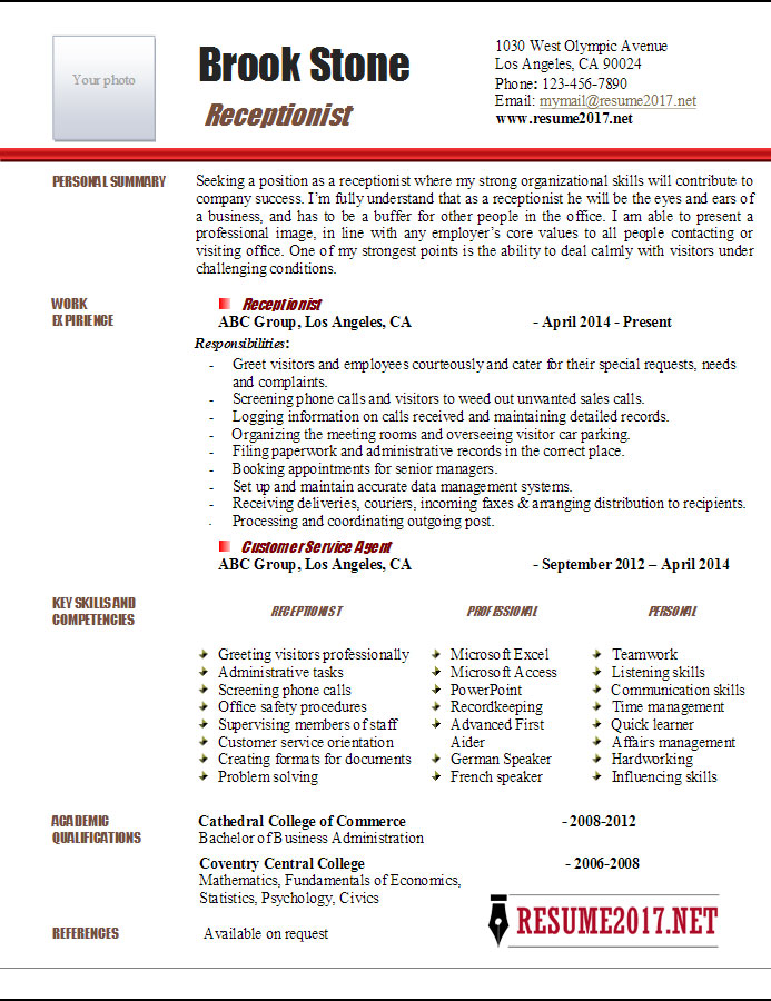 Receptionist Resume Receptionist Resume Sample Receptionist Resume