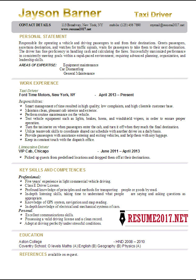 taxi driver resume examples 2017