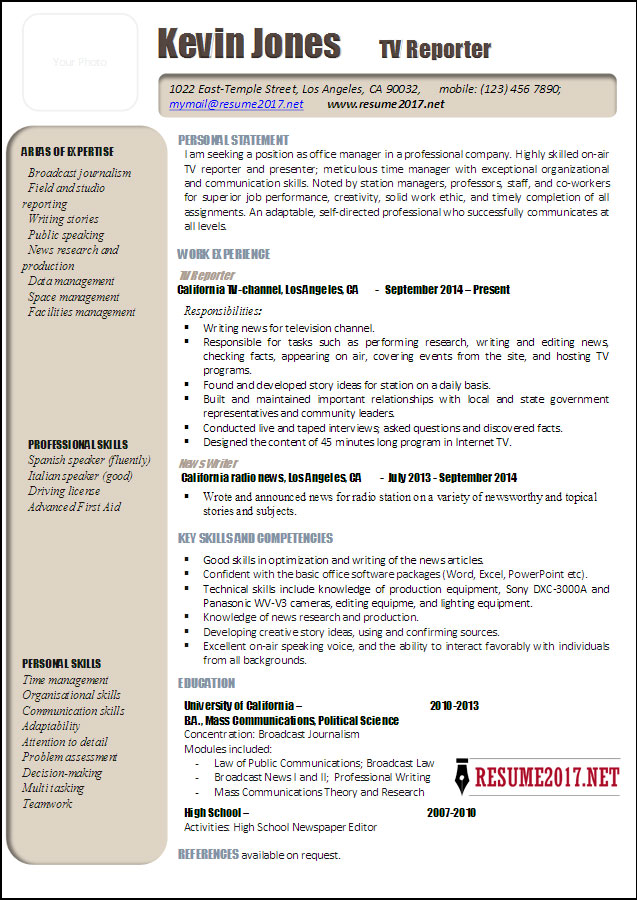Latest Resume 2017 Sample  News Reporter Resume