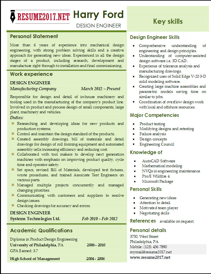 Mechanical Engineering Resume Format Download