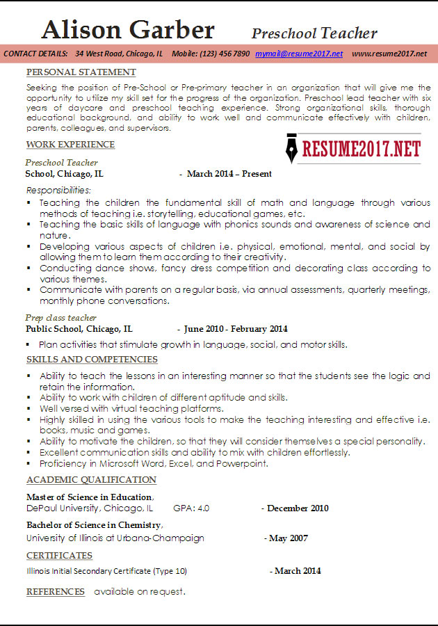 Good Example Teacher Resume Education Resume Example Teacher Resume Tips