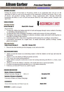 teacher resume template 2017