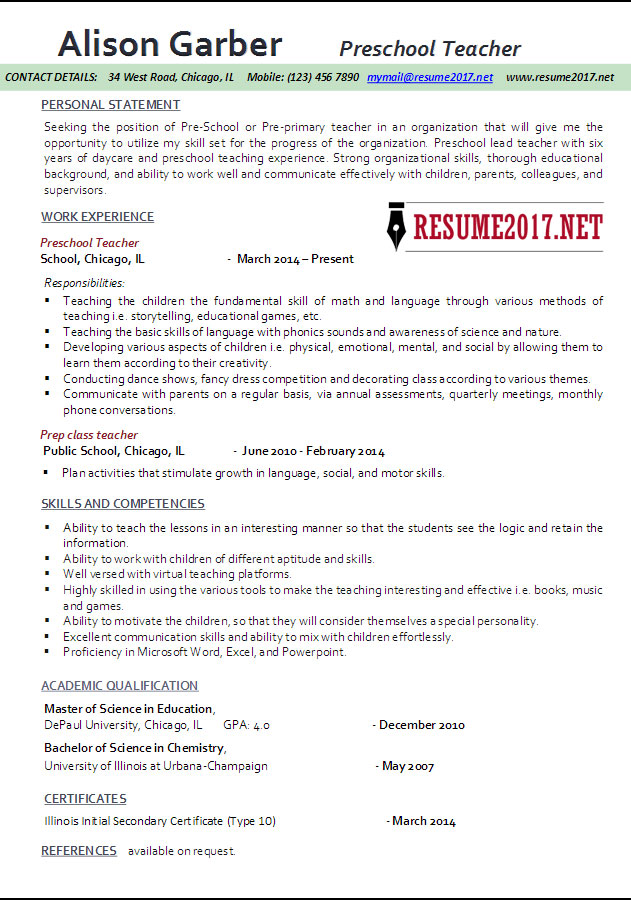 Teacher Resume Template 2017  Resume For Preschool Teacher