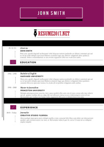 Creative resume sample 2017