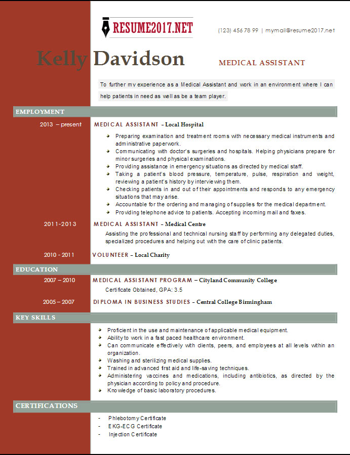 top 6 medical assistant resume templates 2017. Resume Example. Resume CV Cover Letter