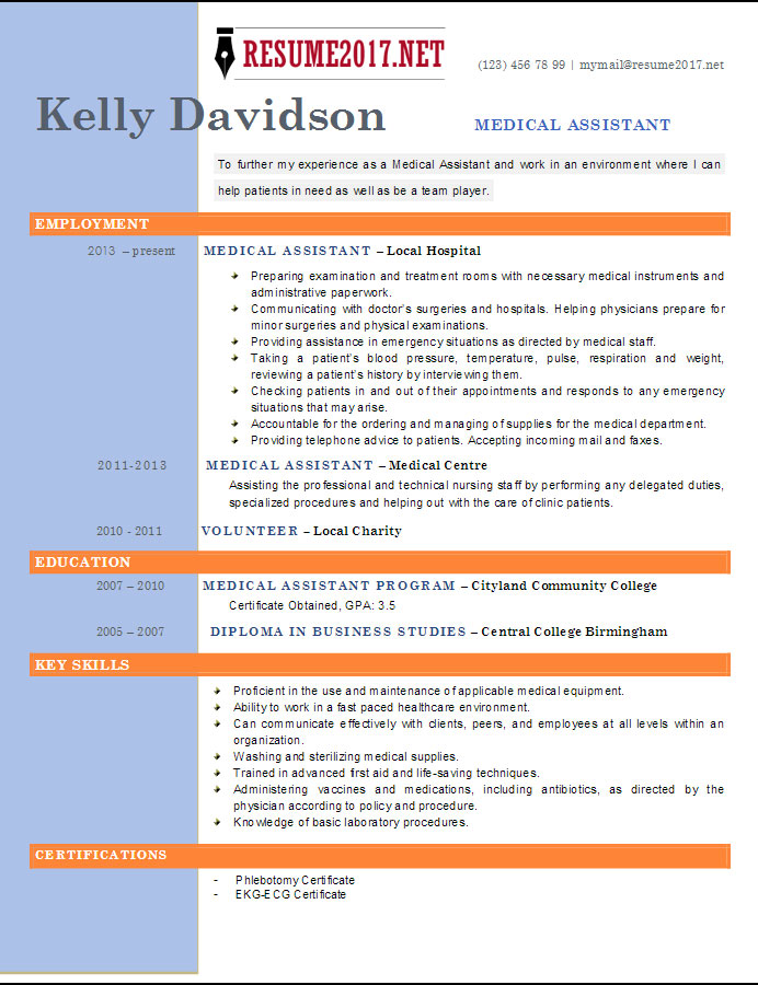 Medical Assistant Resume Template  Resume Template For Medical Assistant