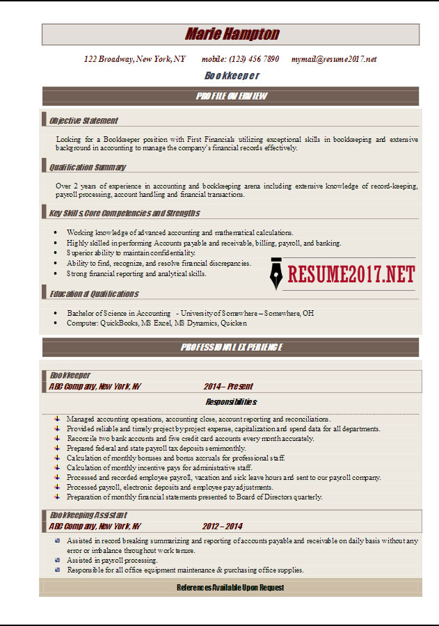 Bookkeeper Resume Example 2017 In Word  Bookkeeper Resume Examples