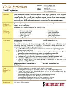 Civil engineer resume 2017 template