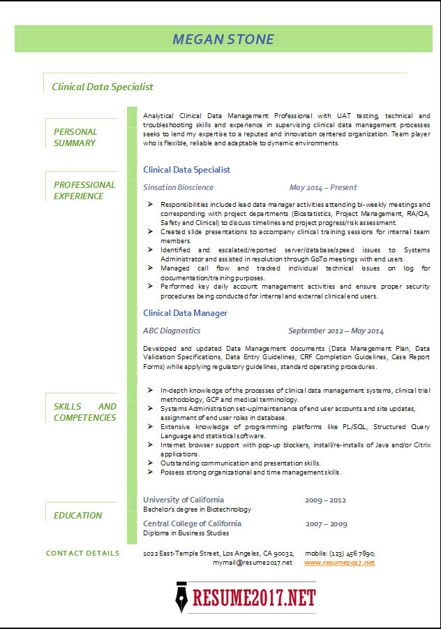 Clinical Data Specialist resume 2017 examples •