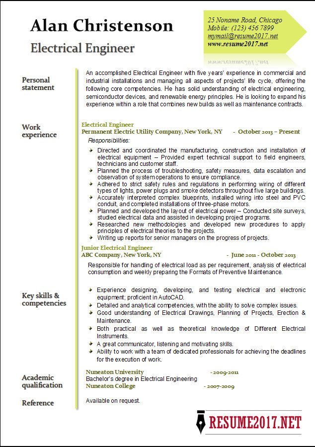 resume 2017 example - Electrical Engineer Resume