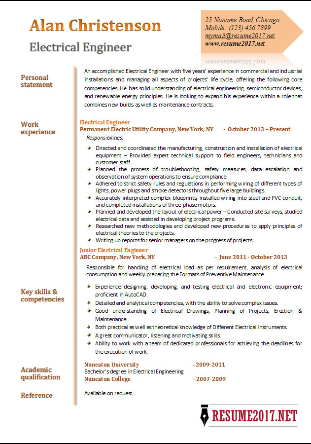 Engineer 2017 Resume Examples