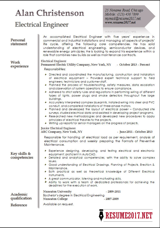 Resume 2017 Example  Resume For Electrical Engineer