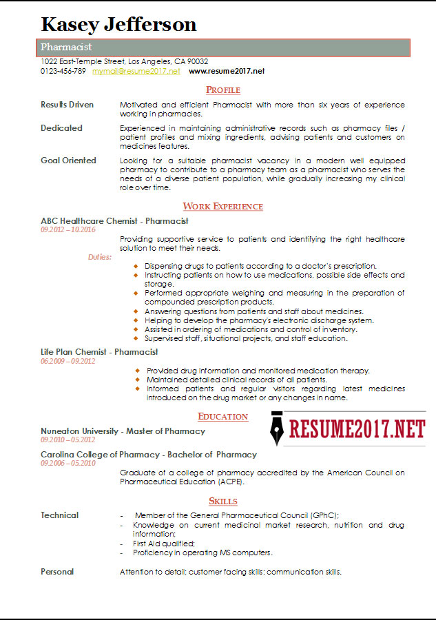 pharmacist resume sample 2017 sample pharmacist resume
