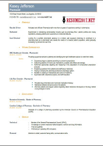 pharmacist resume sample 2017