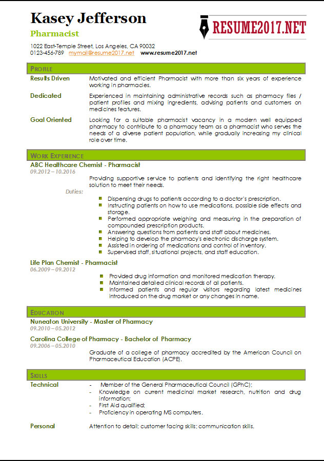 Pharmacist Resume Sample 2017  Pharmacist Resume Template