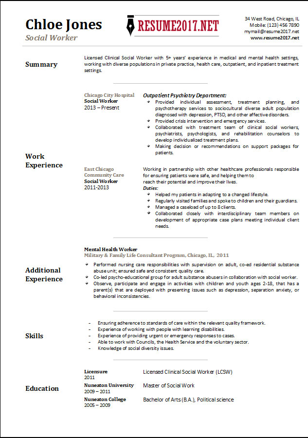 social worker resume template 2017. Resume Example. Resume CV Cover Letter