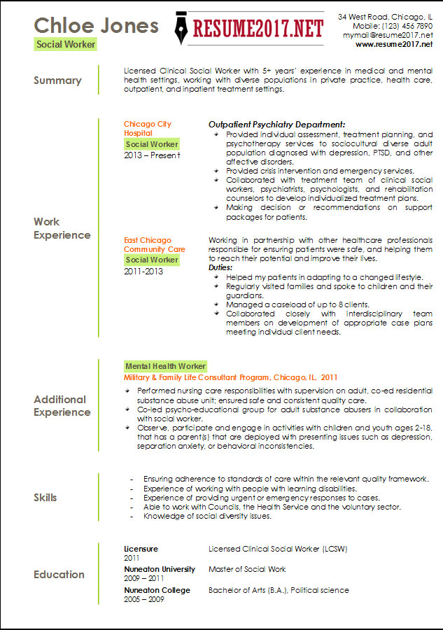Resume Templates 2017  Social Work Resume Templates