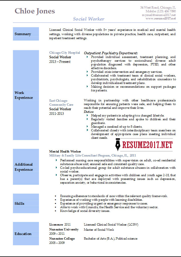 Resume Templates 2017  Social Work Resumes