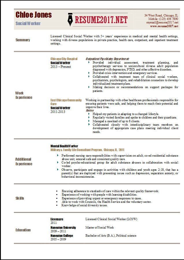 resume templates 2017 - Resume Format For Social Worker