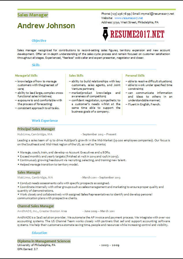2017 Sales Manager Resume