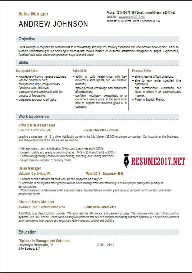 Sales manager resume template 2017 2017 sales manager resume thecheapjerseys Gallery