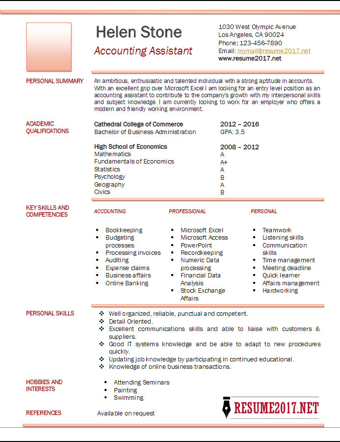 accounting assistant resume template 2017