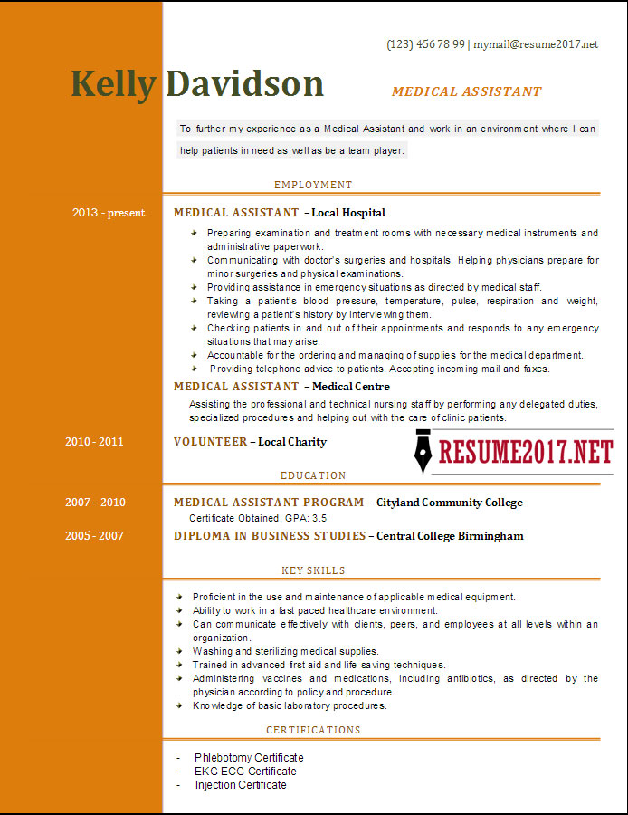 TOP 6 Medical Assistant resume templates 2017 #0: Medical Assistant resume template 2017 docx 5